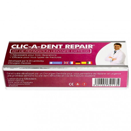 REPARER PROTHESE DENTAIRE avec CLIC-A-DENT REPAIR 3 doses